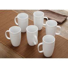 Better Homes and Gardens 18 oz Latte Mug, Set of 6, White Porcelain