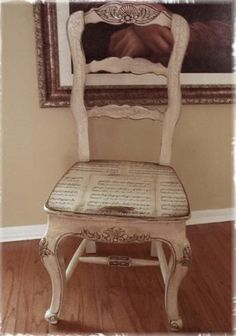Mod Podge sheet music to seat