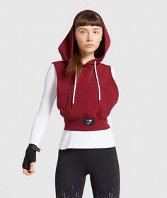 Gymshark Combat Sleeveless Hoodie - Claret   Gymshark Crop Top Hoodie, Sleeveless Hoodie, Underwear Shop, Womens Workout Outfits, Leggings Are Not Pants, Shark Leggings, What To Wear, Workout Tops, Clothes