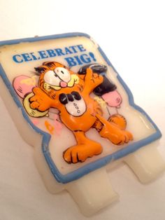 retro Garfield birthday candle; vintage cake topper; enesco united featured syndicate 1978, yesteryears fun Christmas gift idea by LisaLiYesterYears on Etsy