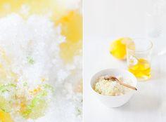 ☼ gommage aux agrumes → sucre + huile d'olive + zestes.d'1citron.jaune,d'1orange,d'1citron vert 4 cas sucre pour 1 cas d'huile