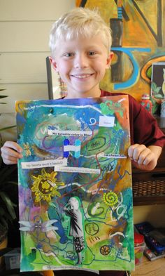 Kids can do it too! Yahoo! Site Solution - Hudson's Awesome Art - Edit. Mixed media self portraits