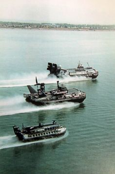 From the top: an  SRN6, a BH7 and a VT2 (Vosper Thornycroft 2) speed along the Solent. An historic picture from 1982 as the three craft travelled in close formation along the Solent and past Daedalus slipway at Lee at the closing of the Naval Hovercraft Trials Unit based at HMS Daedalus.