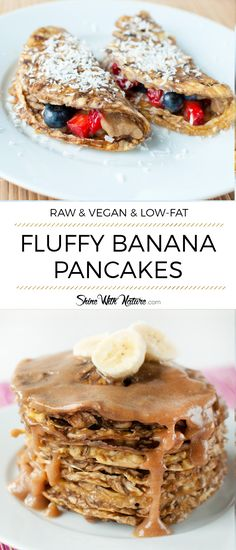 These raw vegan banana pancakes are soft, fluffy and so delicious. Just PERFECT! Plus they are low-fat and super healthy! Healthy Low Fat Meals, Low Fat Vegan Recipes, Raw Recipes, Healthy Crepes, Vegetarian Recipes, Low Fat Pancakes, Breakfast Pancakes, Vegan Banana Pancakes, Raw Vegan Breakfast