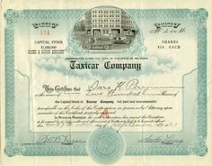 1923 Taxicar Company Stock Certificate