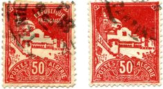 On the left, a 1927 issue, on the right the same stamp in 1942. But the Republique returned at the end of the war and remained until driven out in 1962. The Republique stamp is franked 1935 at a time when the colons imagined they would be there forever. What a difference thirty years and a long dirty war make. Learyworks.com collection.