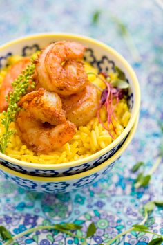 Curried Shrimps with Yuzu-Scented Turmeric Rice by tartineandapronstrings