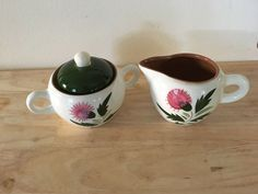 Stangl Thistle  Creamer & Sugar w/Lid Hand Painted & Carved Made in the USA Vtg #Stangl