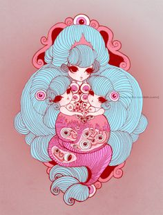 . Arte Do Kawaii, Kawaii Art, Art And Illustration, Manga Artist, Pastel Art, Art Posters, Weird And Wonderful, Skull Art, Aesthetic Art