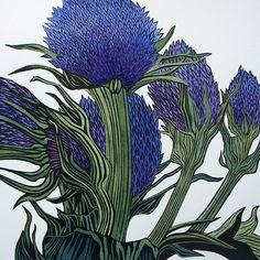 Blue sea holly linocut print in hand by Irene Helen MacKenzie