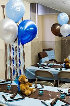 Hostess with the Mostess® - Teddy Bear , brown and blue Baby Shower August Baby Shower, Baby Shower Niño, Cheap Baby Shower, Boy Baby Shower Themes, Gender Neutral Baby Shower, Baby Shower Balloons, Baby Shower Parties, Baby Showers, Teddy Bear Party