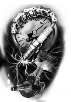 Car Tattoos, Biker Tattoos, Badass Tattoos, Forearm Tattoos, Tattoo Design Drawings, Tattoo Sleeve Designs, Tattoo Designs Men, Motocross Tattoo, Piston Tattoo