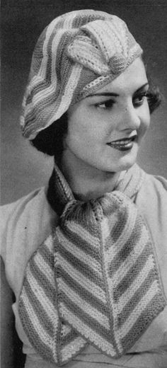 1930s Ladies' Hat and Scarf Set