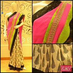 Saree of the week: Chiffon neon pink with black and grass green border. Elegant colour combination, don't you think?  http://www.kayfashions.in/#!/ #fashion #indian #weddings #bridal #lehenga #ghagra #anarkali #salwar #designer #ethnic #boutique #chennai #shopping #triplicane #dress #clothes #traditional #saree #sari #silksaree