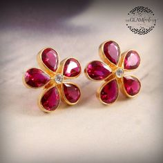 Ruby Ring Designs, Gold Earrings Designs, Gold Jewellery Design, Gold Designs, Ruby Jewelry, Ruby Earrings, Silver Jewelry, Coral Jewelry, Flower Earrings