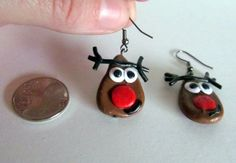 Polymer Clay Earrings Christmas Earrings by MadeByTheHearth, $8.00