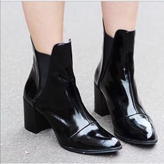 Zara patent leather boots . Zara patent leather boots . Shiny. Alexander wang inspired style . Great condition. Pull on no zippers. Zara Shoes Ankle Boots & Booties