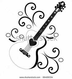 Guitar Music Tattoo Designs, Music Tattoos, Guitar Tattoo, Guitar Art, Free Stencil Maker, Henna Doodle, Learn To Sketch, Sheet Music Art, Music Drawings