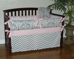 Light Baby Pink  Gray  Damask  Chevron  5pc by CustomBabyCreations, $310.00
