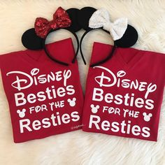 """INSTAGRAM: @dailythreads_ • B E S T I E S • What's better than Disneyland!?? Disneyland with your BESTIE!!! . Featuring my """"Disney Besties for the Resties"""" Women's Red V Neck shirts with glitter design!✨ Also available in infant and kids shirts, bodysuits (onesies) and leotards! ❤TheDailyThreads.etsy.com❤ #disney #disneybesties #disneybestiesfortheresties"""