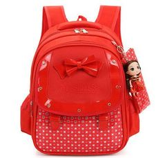 Adorable Girl s Fashion Butterfly Bowknot Durable Backpack w Free Doll 4  Colors Cute Girl Backpacks 5856c9e747