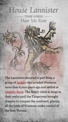 History of houses of Game of Thrones - Imgur