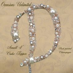 """SMALL 4"""" Champagne or color Cake Topper - Cake Top Bling Wedding Monogram pearls and crystals. $29.00, via Etsy."""