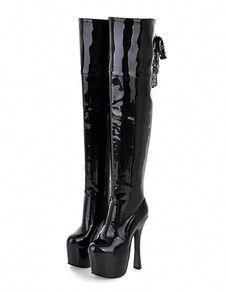 "Pleaser Matte Black 7/"" Stiletto Mega Platform Stretch Knee Boots Club Goth 6-12"