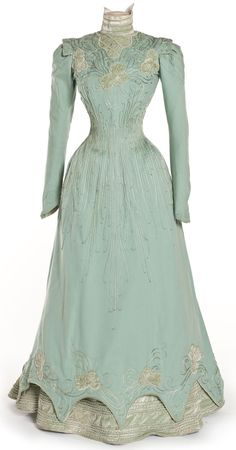 1898 sea foam dress.  OMG, all the details! I normally don't like dresses from this period much, but this is breathtaking!