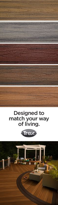 Trex Transcend Composite Decking comes in an array of colors that give your outdoor space the look and feel of a tropical oasis, without all the maintenance of building with hardwood. Which color is right for you? Order Trex product samples at trex.com to find your perfect color match. #TrexTranscend