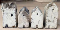 Tiny Raku Houses - white crackle glaze. Mark Strayer, North Star Pottery