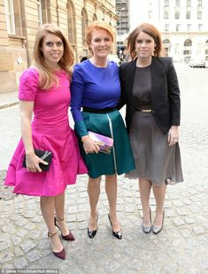Princess Beatrice, Sarah Dutchess of York, Princess Eugenie in London for a society wedding.  May 14 2016