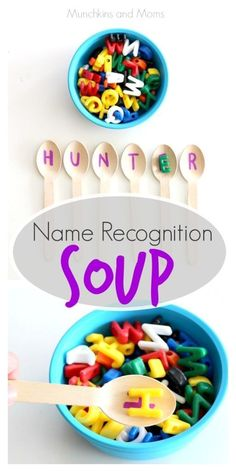 Name Recognition Soup- A fun activity for preschoolers or toddlers learning the letters of their name