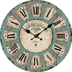 Large Vintage Style Wooden Wall Clock Distressed Romantic French Antique