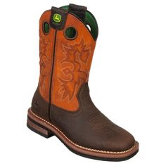 John Deere Kids' Square Toe Pull On Cowboy Boot Toddler/Preschool Boots (Brown/Rust) - 13.5 M