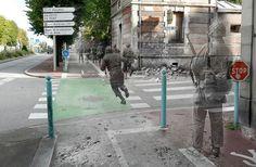 """Nesta imagem, de soldados que atravessam a avenida de Paris, em Cherbourg, ela fez o último homem do grupo mais transparente, como se a sugerir que talvez ele não faça isso. """"Também para mim tipo de sugere a idéia de alguém que está sendo deixado para trás, a história por aí e ficar"""""""