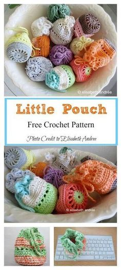 Crochet Amigurumi Basket Little Pouch Free Crochet Pattern - This crochet pouch is super mini, cute and useful. It has an unlimited number of uses. You can easily use the Little Pouch Free Crochet Pattern to make a few. Crochet Diy, Beau Crochet, Crochet Mignon, Crochet Simple, Crochet For Kids, Crochet Ideas, Crochet Tutorials, Small Crochet Gifts, Crochet Braids