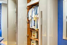 Hanging rails, adjustable shelves, cupboards and a pull out laundry basket Made To Measure Wardrobes, Fitted Wardrobes, Living Room Storage, Storage Room, Hanging Rail, Cupboards, Adjustable Shelving, Laundry Basket, Design Projects