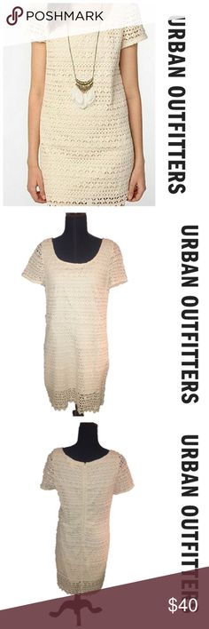 White crochet overlay shift dress Really pretty cream colored shift dress from urban outfitters. Perfect dress for cowboy boots (hint  I have some for sale in my closet!) and a flower crown! Get the perfect boho cowgirl look! Size medium, good used condition Urban Outfitters Dresses Midi