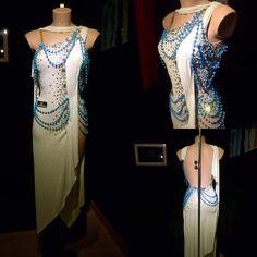 Elegant asymmetric hem, one shoulder Latin dress in white - Abraham Martinez