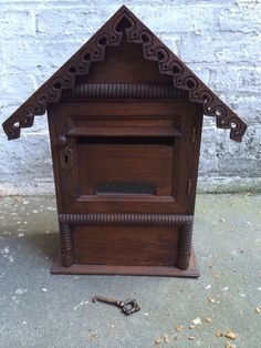 Teak Wooden Wall Mount Mailbox Cardbox With Antique Themed Key