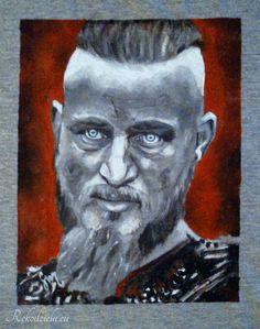 Ragnar Lothbrok I painted it on man's T-shirt, it was a challenge! #Vikings #TravisFimmel Dostępna: http://www.rekodziela.eu/sklep/dla-mezczyzn/ubrania/koszulka-ragnar