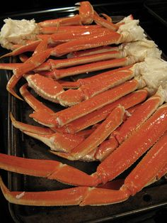 Baked/Roasted Crab Legs - we don't own a rig big enough for steaming or boiling so this is how we've been preparing the frozen crab legs.  They take longer than 8 minutes, maybe more like 25.