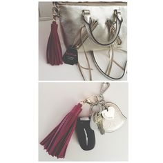 NEW Leather Tassle Handbag / Keychain Charm New with tags faux leather. Purple magenta color. Snaps on any purse or handbag or keychain. * I get these from a local distributor so if these 2 samples are a hit, more will be to come.* Accessories Key & Card Holders