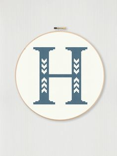 Cross stitch letter H pattern with chevron detail, instant digital download