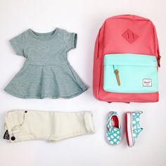 Tiniest school outfit. Peplum top, herschel backpack and polka dot slip on vans