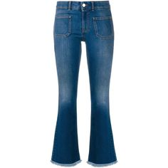 Stella McCartney Flared Skinny Kick Jeans (5.034.375 IDR) ❤ liked on Polyvore featuring jeans, blue, blue jeans, stella mccartney, frayed skinny jeans, skinny flare jeans and skinny leg jeans