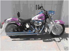 Harley Davidson Paint Jobs | 2003 Fatboy, pink flame custom paint, chrome. - Harley Davidson Forums
