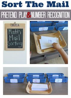 "Fun math idea for all levels. Could also make a counting variation for preschoolers/early kindergarten (put 'x' number of beans or pony beads into envelope and ""deliver"" it to the correct basket). Or use for reading sight words too Math Activities For Kids, Kindergarten Centers, Educational Activities, Math Centers, Number Activities, Community Helpers Preschool, E Mc2, Homeschool Math, Homeschooling"