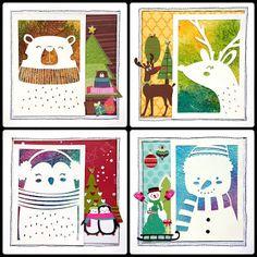 Quadrinhos 15x15cm de Natal com técnica de papel de seda e tinta spray - O efeito é lindo!  - Na postagem tem vídeozinho mostrando a textura coloridona! Visite! - #enfeitedenatal #xmas #scrapbook #scrapbooking